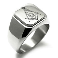 Stainless Steel Masonic Floral Compass Square Flat Top Biker Style Polished Ring