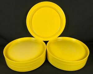 "9 Heller Massimo Vignelli Yellow Dinner Plates Melamine 10"" Vintage Mid Century"