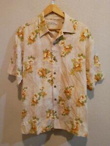 Tommy Bahama Relax 100% Silk Floral Print Hawaiian Camp Shirt Men's L