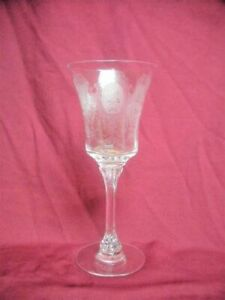HEISEY Etched Crystal Glass 9oz WATER GOBLET Stem MINUET Elegant Depression Old