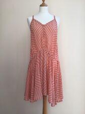 FRENCH CONNECTION Pink Zig Zag Stripe Halterneck Low Back Silk Dress - UK 12