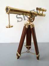 Brass Double Barrel Pirate Telescope With Tripod Stand Nautical Christmas Gifts