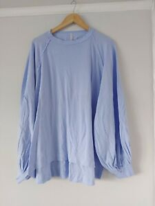 Free People Oversized Powder Blue Long Puff Sleeve Tee Size Xs