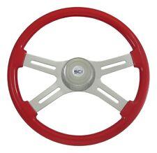 "18"" Viper Red 4 Spoke Classic Steering Wheel 3-Hole for Freightliner, Peterbilt+"
