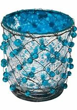 Kare Design Lanterna a vento LANTERNA - Supporto filo perline blu 8,5/8,5/10