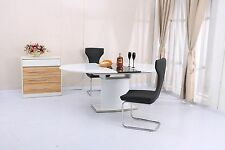 Oval Extending Dining Table with 6 Chairs Nobile White Gloss Top Pedestal Table
