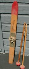1940's Pair of Child's Wood Skis with Pair of Poles
