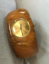 Vintage Marbled Bakelite Wide Hinged Cuff Endura Swiss Watch - Works!