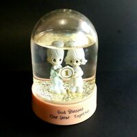 VTG 1989 Enesco Precious Moments Water Globe God Blessed Our Year Together
