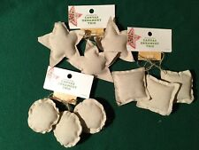 Dye able Canvas Christmas Ornament Trio Choose Either Circle, Star, or Triangle