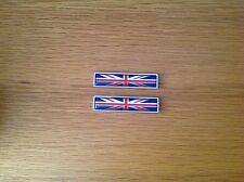 2x UK NATIONAL FLAG METAL BADGE EMBLEMS - JAGUAR - TRIUMPH - ROLLS ROYCE - ROVER