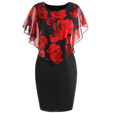 UK Plus Size Women Floral Mini Dress Bodycon Ladies Holiday Evening Party Dress