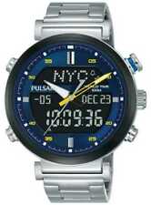 Pulsar Mens Stainless Steel Digital Analog Blue PZ4049X1 Watch - 27% OFF!