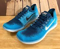 Nike Free RN Flyknit 2017 Running Shoes Blue Lagoon 880843-400 Men's Sz 10 14 15