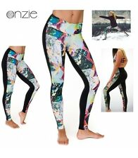 NWT Sz. M/L ONZIE Womens PRINTED Long Tights Preformance Yoga/Run Two Tone PRISM