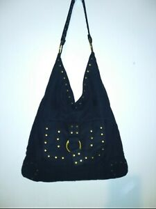 Black Suede Purse W Gold Studs unbranded shoulder Strap out & inside Pocket