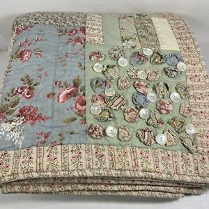 Vtg Patchwork Floral Shabby Chic Hand Quilted Throw Lap Quilt Pink Green 58x54