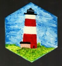 Red And White Lighthouse Hand-Painted Hexagonal Decorative Tile Coaster
