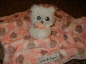 14x14 BLANKETS & BEYOND Plush OWL Security Crib Baby Blanket Lovey