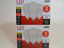 6 Pack LED CANDELABRA base small WARM WHITE Feit 40W Equivalent 5W Light Bulbs