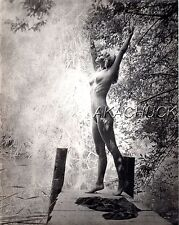 "SEPIA HENDRICKSON PHOTO Original 8x10"" Nude Model Stretching Nature Blonde D367"