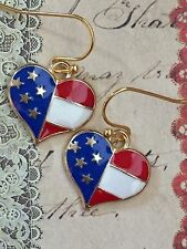 Gold Red White and Blue Heart Earrings. Freedom. Patriotic. Flag. Holiday. USA