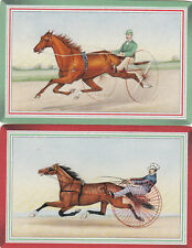 #48 2 single vintage single playing swap cards - Horses and carriages  - JS