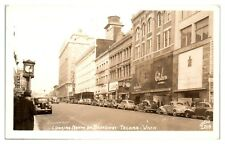 1947 RPPC Broadway, Mahncke Jewelers, Oakes Apparel, The Roxy Tacoma WA Postcard