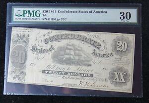 1861 $20 CONFEDERATE STATES OF AMERICA VF30 PMG