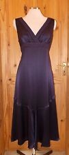 KALIKO dark purple aubergine PURE SILK long STEAMPUNK midi party dress 14 40