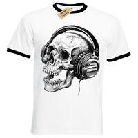 Skull Headphones SCREEN PRINTED Mens T Shirt Ringer band skeleton music retro