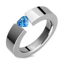 Titanium Ring Heart Shaped N Blue Topaz Tension Set Polished Engagement Band
