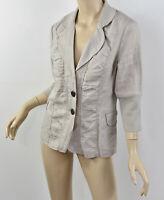 XCVI Khaki Beige Ramie Ruched Pleated Front Lightweight Unlined Blazer Jacket M