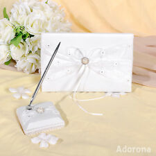 Ivory Satin Beaded Guest Book and Pens -GB02b