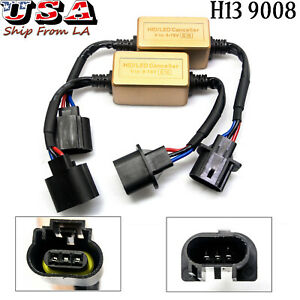 2X H13 9008 LED Headlight Kit Canbus Decoder Anti-Flicker Resistor Relay Adapter