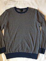 J Crew Men's Sz L Sweater Blue & Cream Stripe Cotton Cashmere Crew Neck