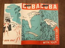 Visit Cuba With Your Car Tri-fold Brochure Map 1950's Flyer