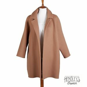 Womens ZORAN Coat O/S Soft Camel Brown Wool Open Front Cape Overcoat ITALY
