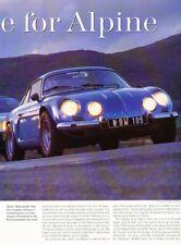 Renault Aline A110 GTA Turbo A310 A610 Car Review Report Print Article J958