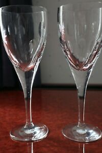 """A Pair of Waterford Crystal John Rocha """"Imprint"""" Wine Glasses, Signed 9"""" tall"""