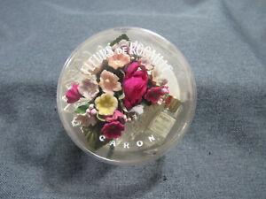Vintage Caron Fleurs De Rocaille mini perfume bottle & flower bouquet pin in box