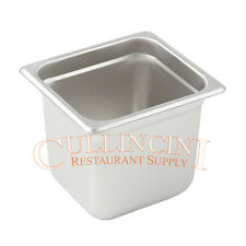 (6) 6TH SIZE STEAM TABLE CHAFING INSERT PANS 18/8 STAINLESS STEEL 6 INCHES DEEP