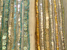 """INDIAN SEQUINED SCARF/BELT IN BEIGE or BLUE 4.75""""/12cm.x 68""""/172cm £5.50each NWT"""