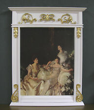 """FIREPLACE OVERMANTLE  ~  White/Gold Detail ~ 1:4 scale ~ For 16"""" Doll"""