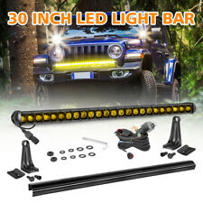 Amber 30 Inch Slim OSRAM LED Single Row Light Bar Work Fog Lamp Cover&Wiring SUV