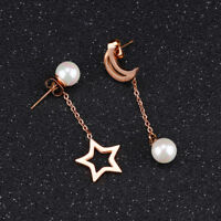 Asymmetric Star Moon Pearl Rose Gold GP Surgical Stainless Steel Stud Earrings
