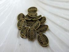 20 x Tibétain Style Ovale Spacer Beads antique bronze 13 mm NF, métal perles (MB65)