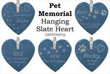 Pet Memorial Slate Heart Hanging Head Stone Plaque Personalised Your Wording