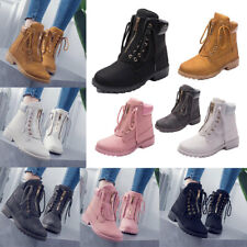 Womens Lady Winter Martin Ankle Boots Outdoor Work Waterproof Lace Up Shoes Size