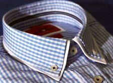 HAUPT Light Blue Plaid shirt, SMALL, 100% Cotton, TW 098